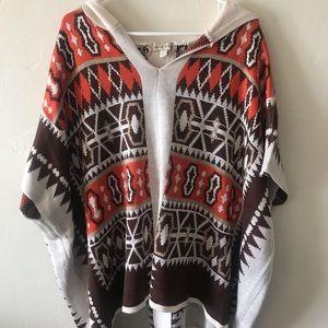 NWT Women's XL Southwest Aztec Hooded Poncho Top